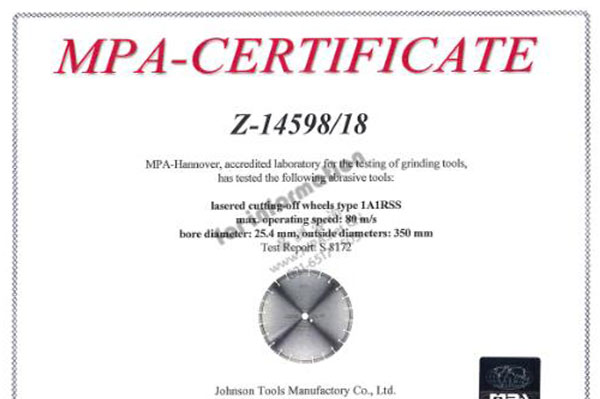 Laser saw blade passed MPA tested!